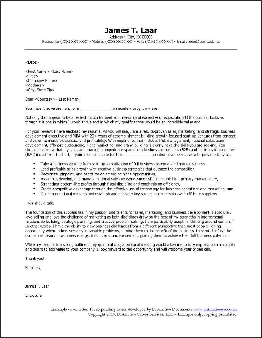 Cover letter to respond to job ads madrichimfo Choice Image