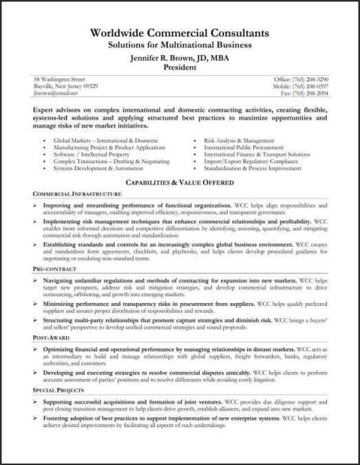 Capabilities Resume Summary