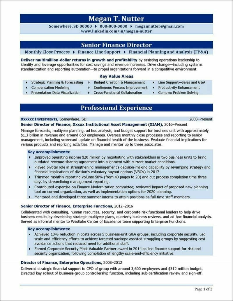 RExample Targeted Resume Format