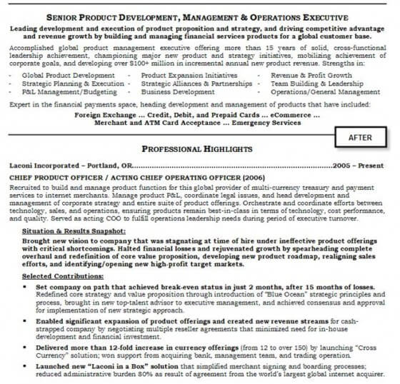 Resume Example After Professional Resume Help