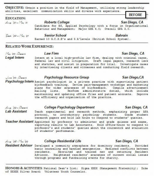student resume before rewriting