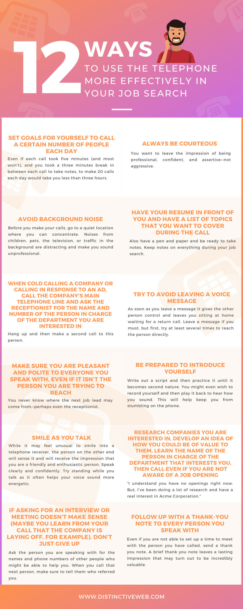 12 Ways To Use The Telephone More Effectively In Your Job Search Infographic