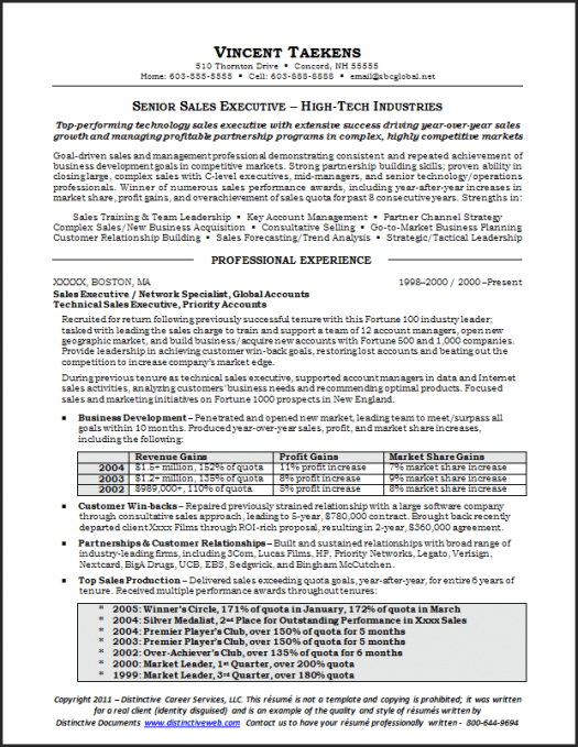 Sales Resume Sample Page 1