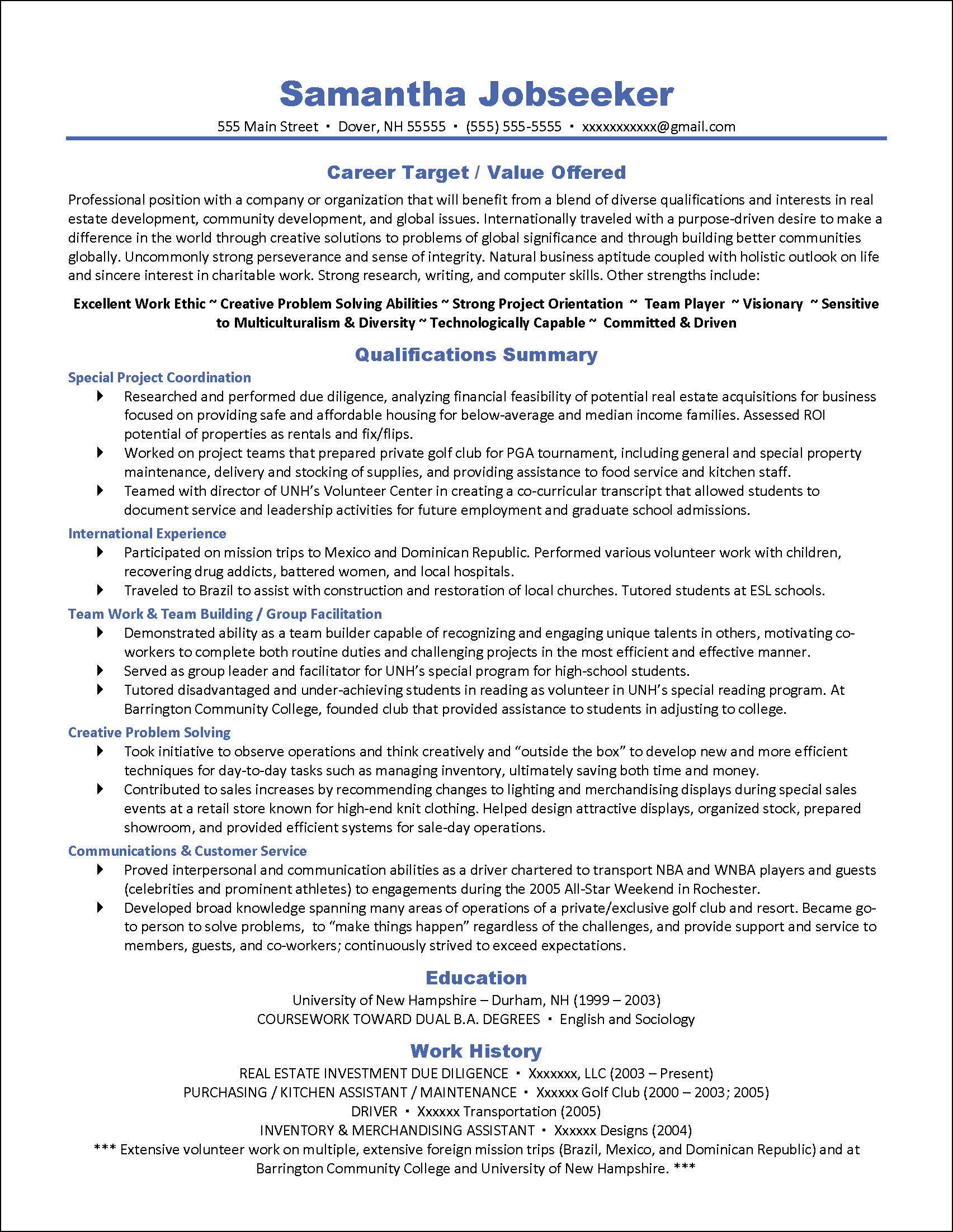 example of targeted resume target resume samples