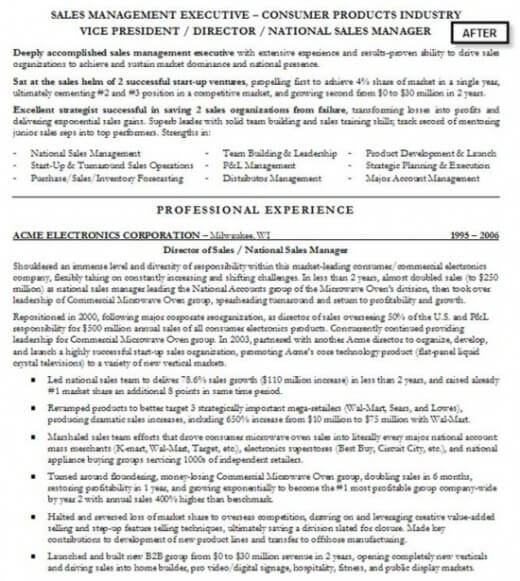 After example of resume writing