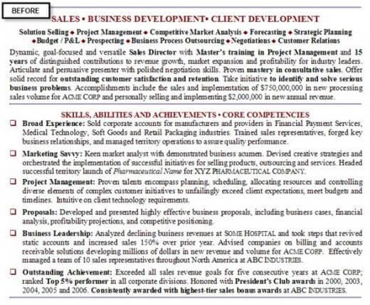 Resume example before rewriting