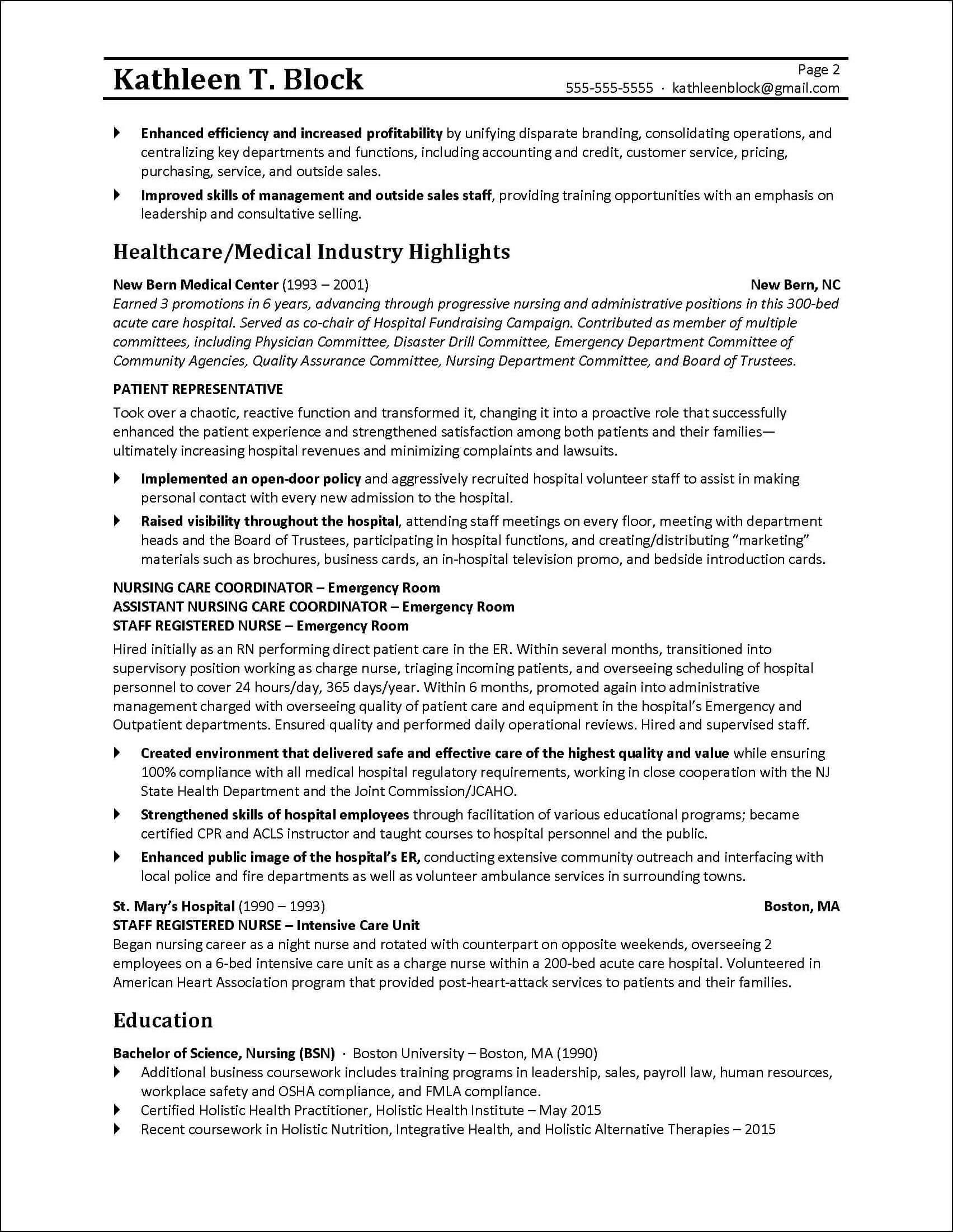 resume tips 2nd page of a resume written for a former business owner - Resume For Hospital Job