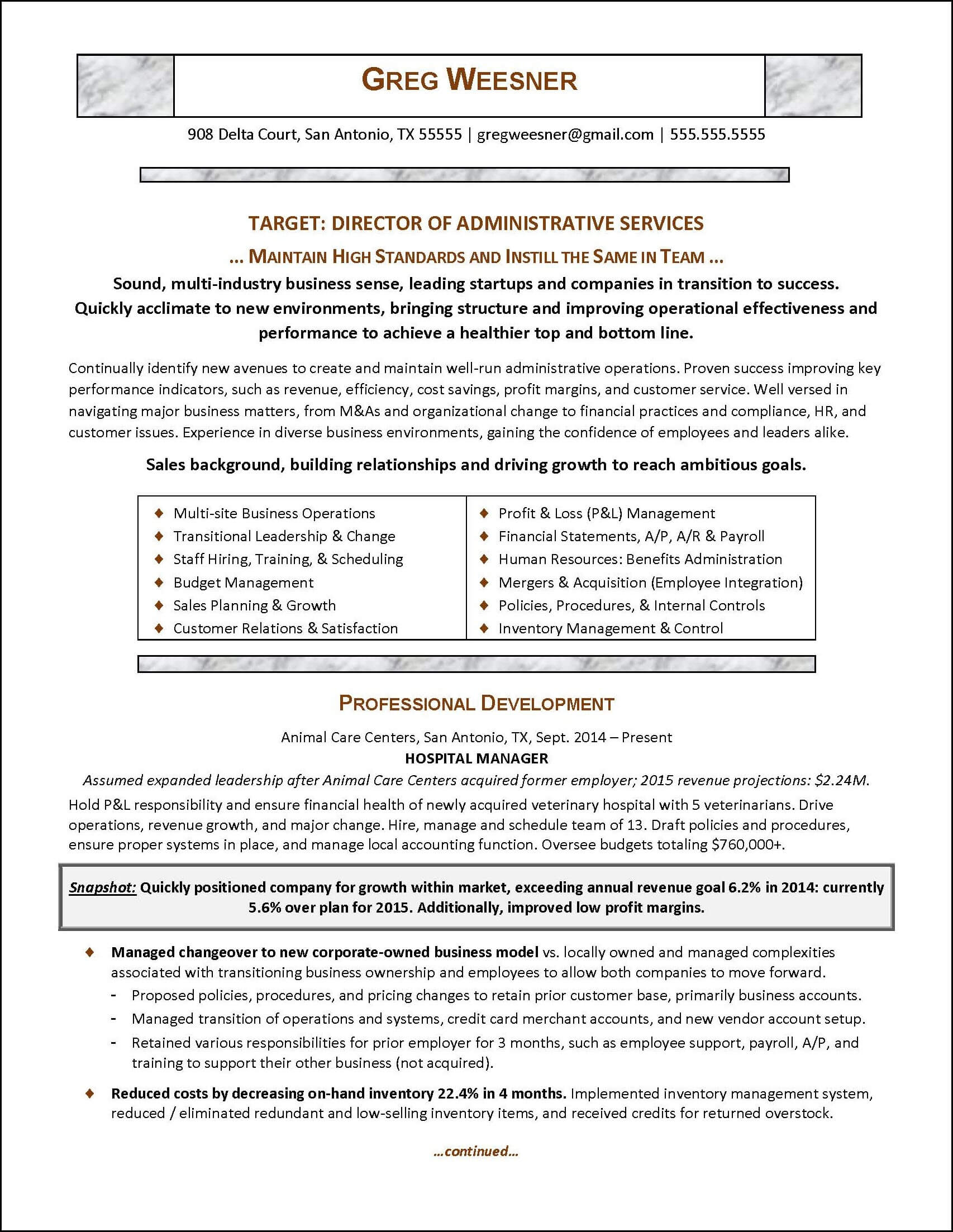 Sample career change resume for an administrative services manager - page 1