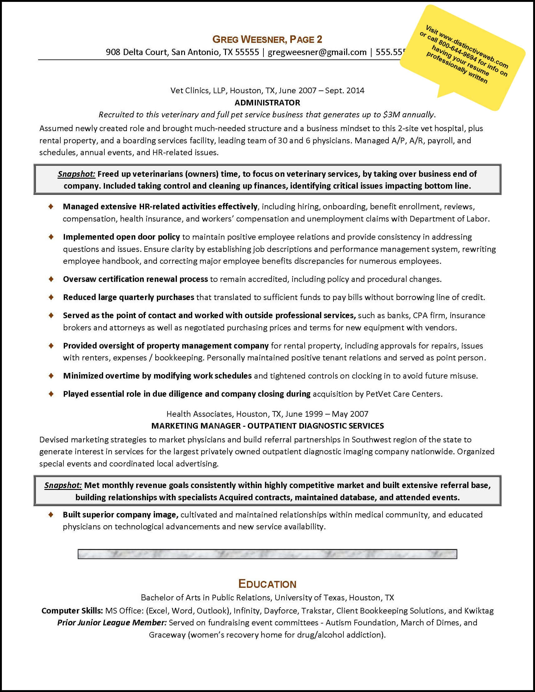 sample career change resume for an administrative services manager page 2 - Service Manager Resume