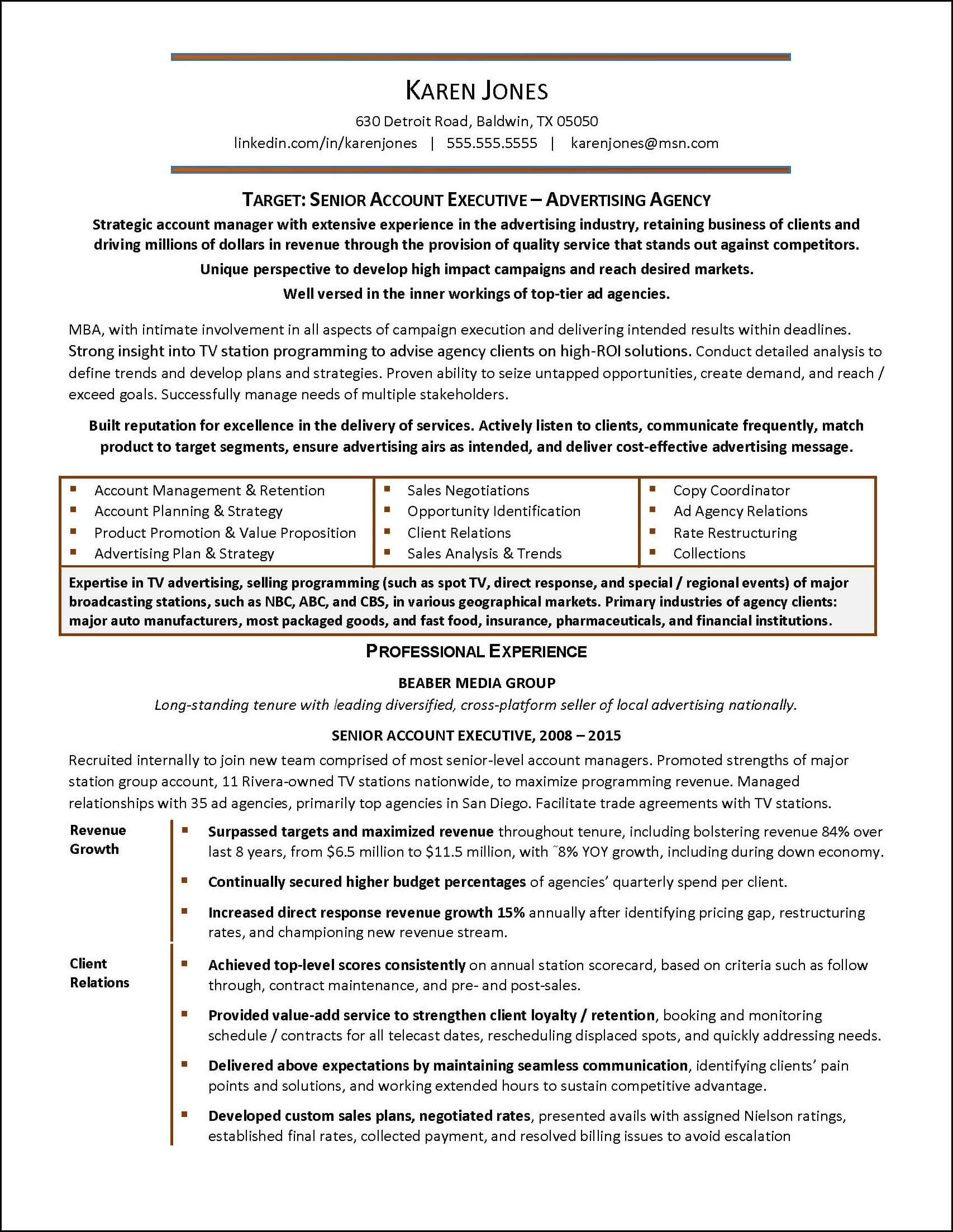 Sample Resume Written To Help An Advertising Industry Account Executive  Advance Her Career U2013 Page 1  Mid Career Resume
