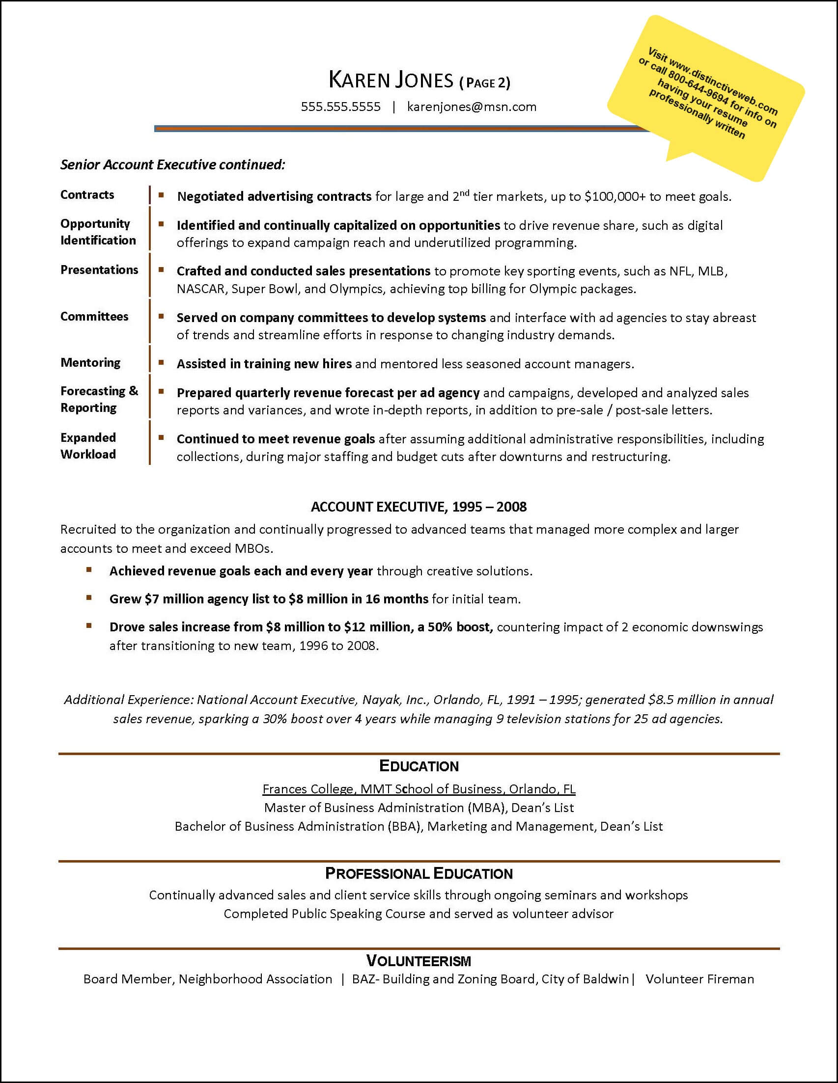 Sample Resume Written To Help An Advertising Industry Account Executive  Advance Her Career U2013 Page 2  Mid Career Resume