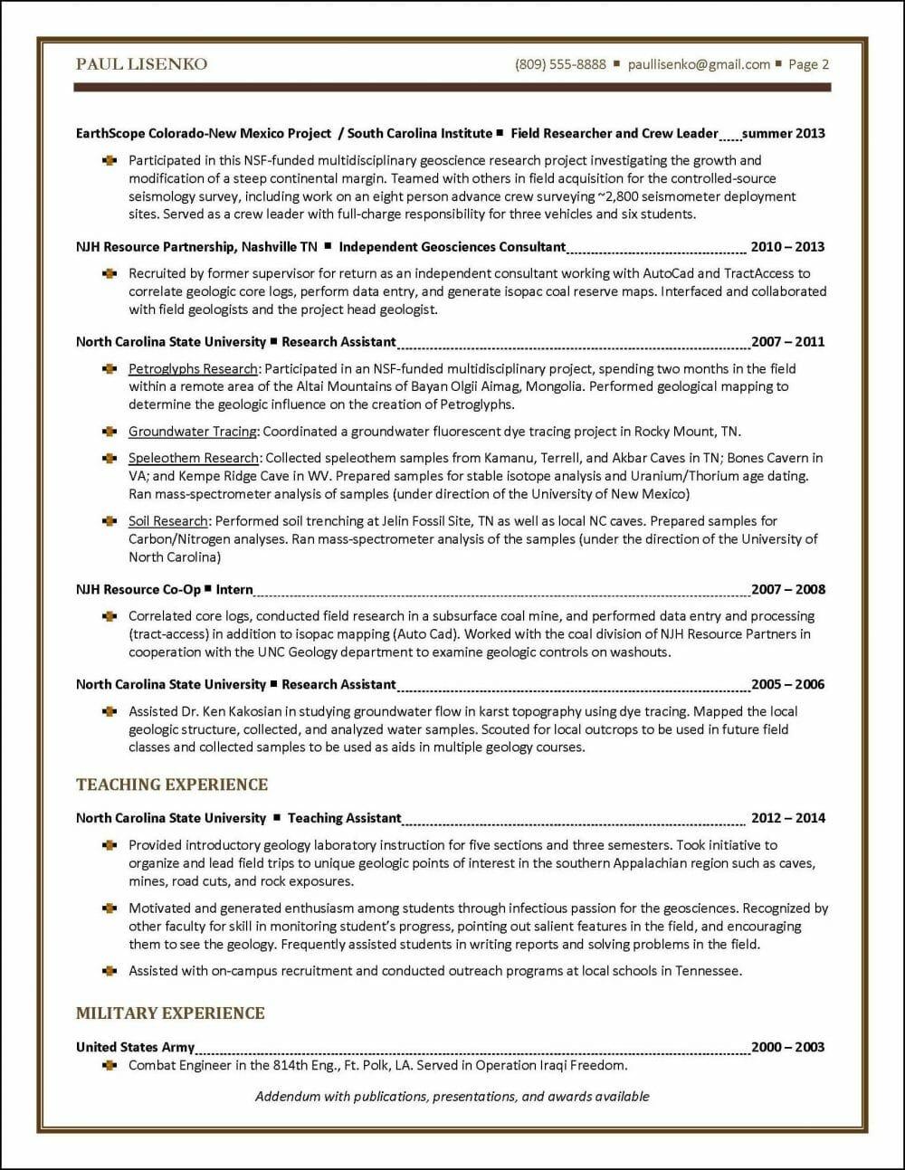 Graduate Student Resume Example | Distinctive Career Services