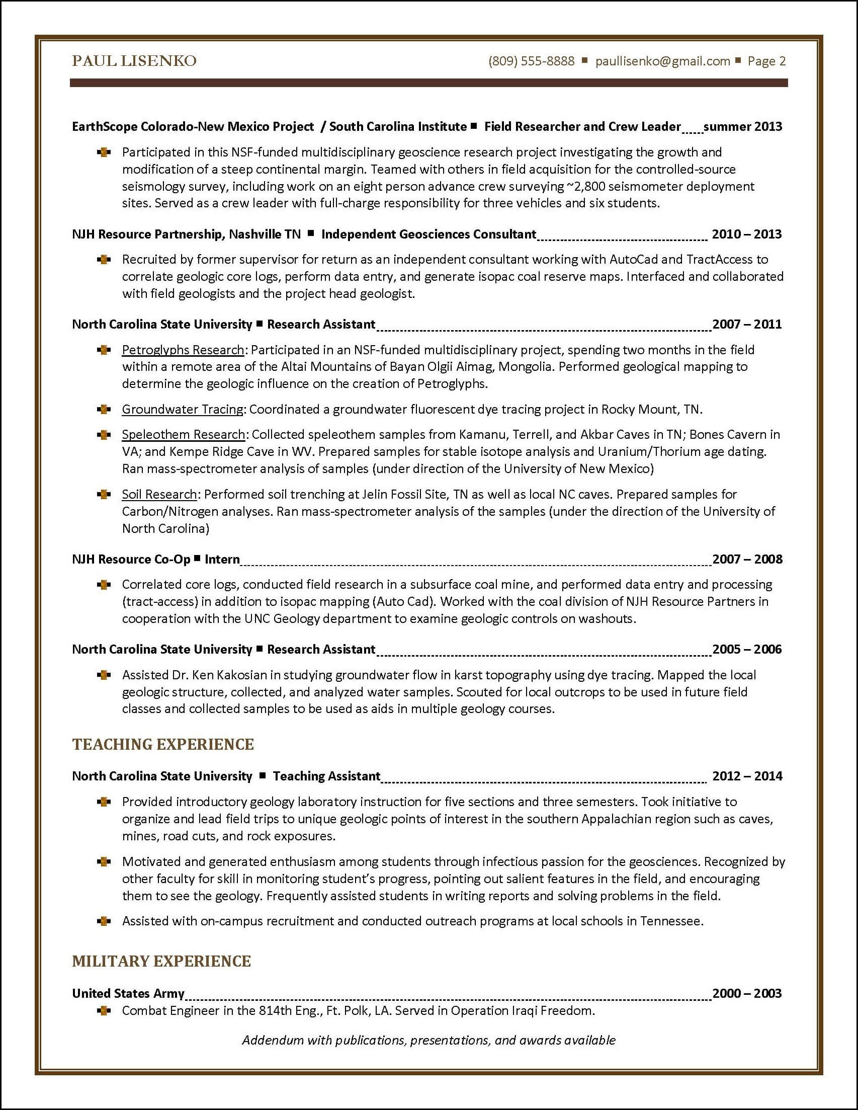 sample student resume written for a new college graduate page 2