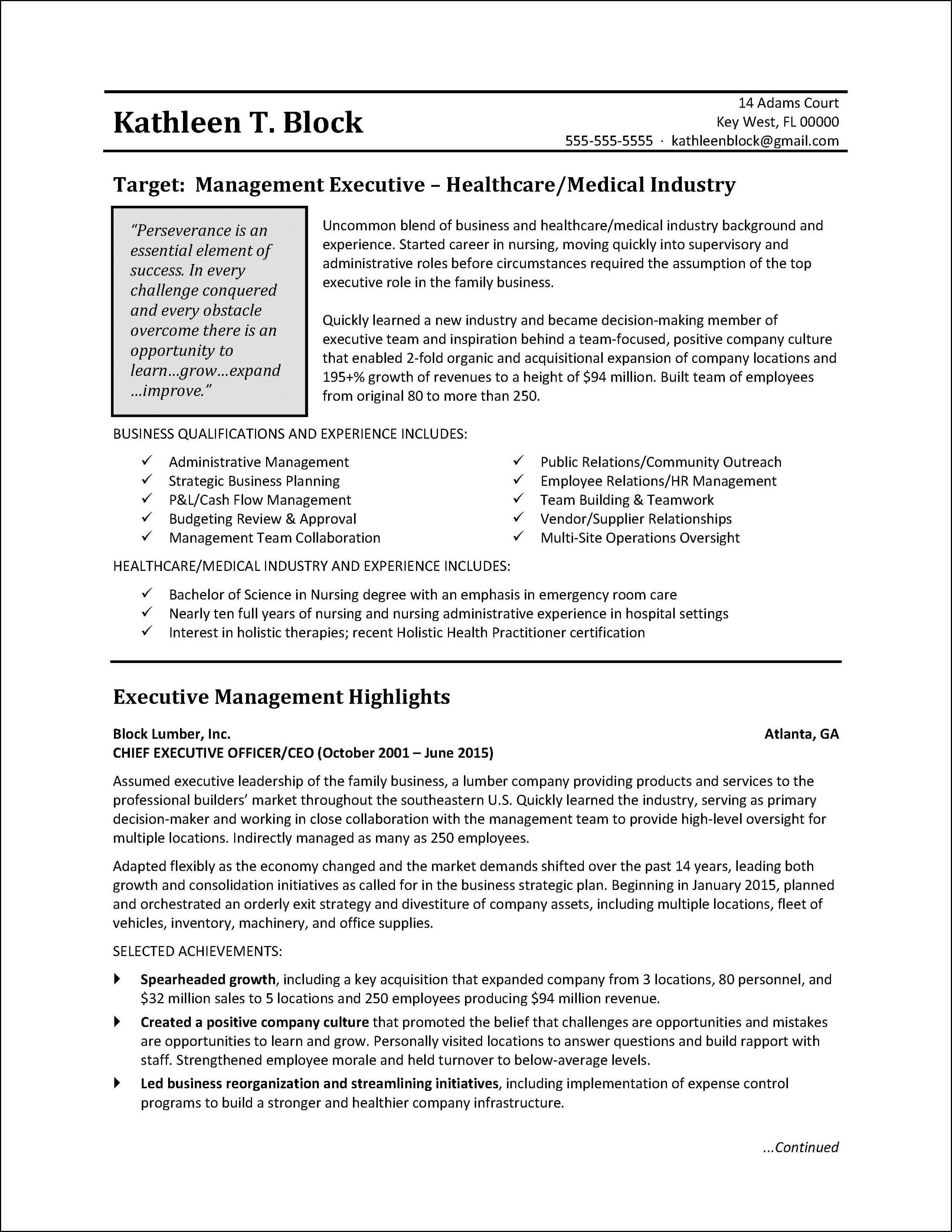 Management Resume Sample | Healthcare Industry