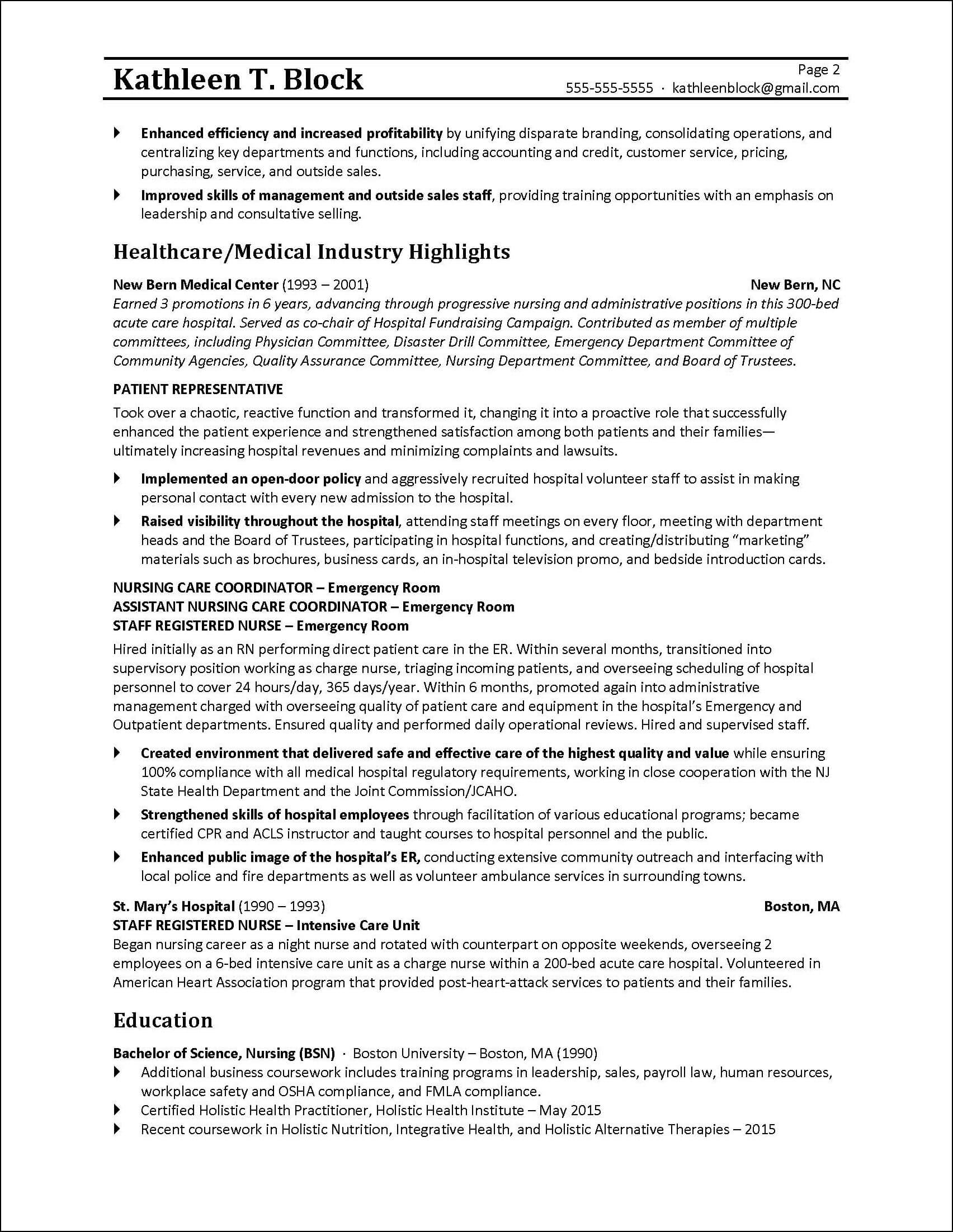 Management Resume Sample | Healthcare Industry