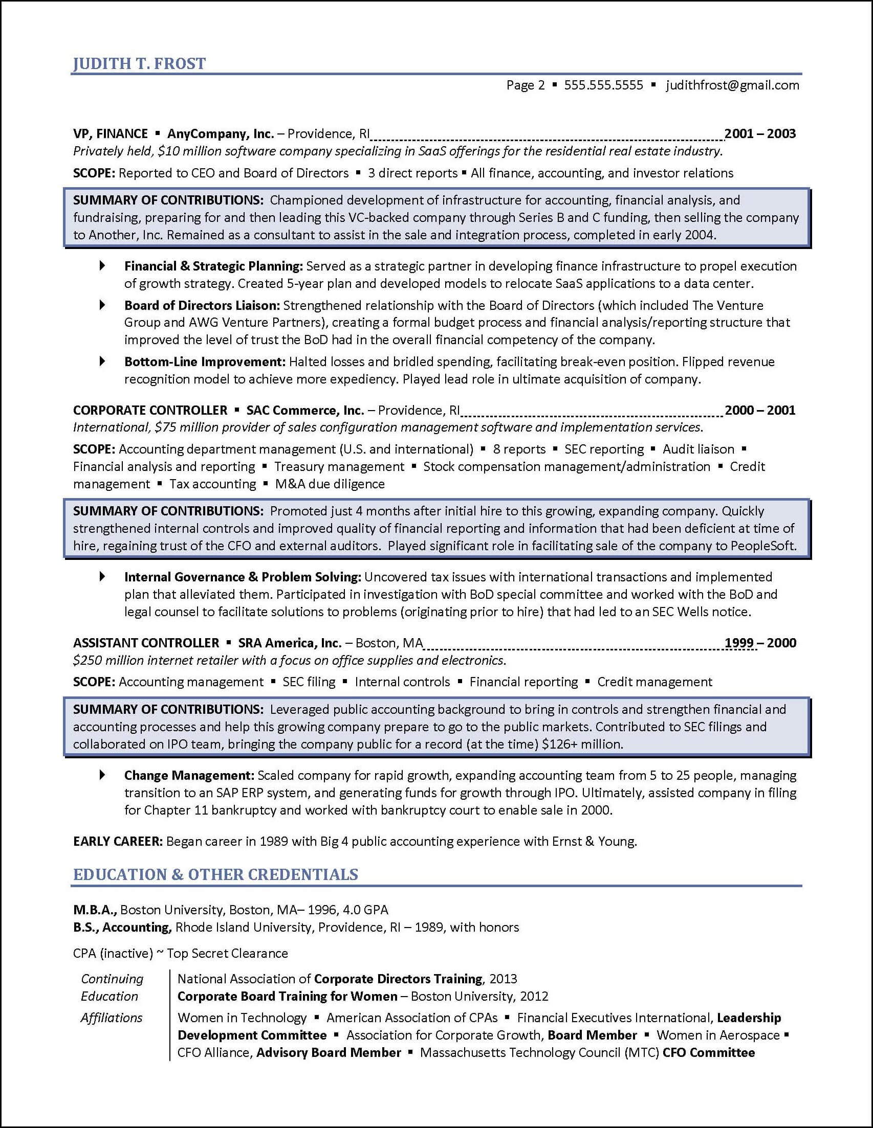 board of directors resume example - Corporate Resume Samples