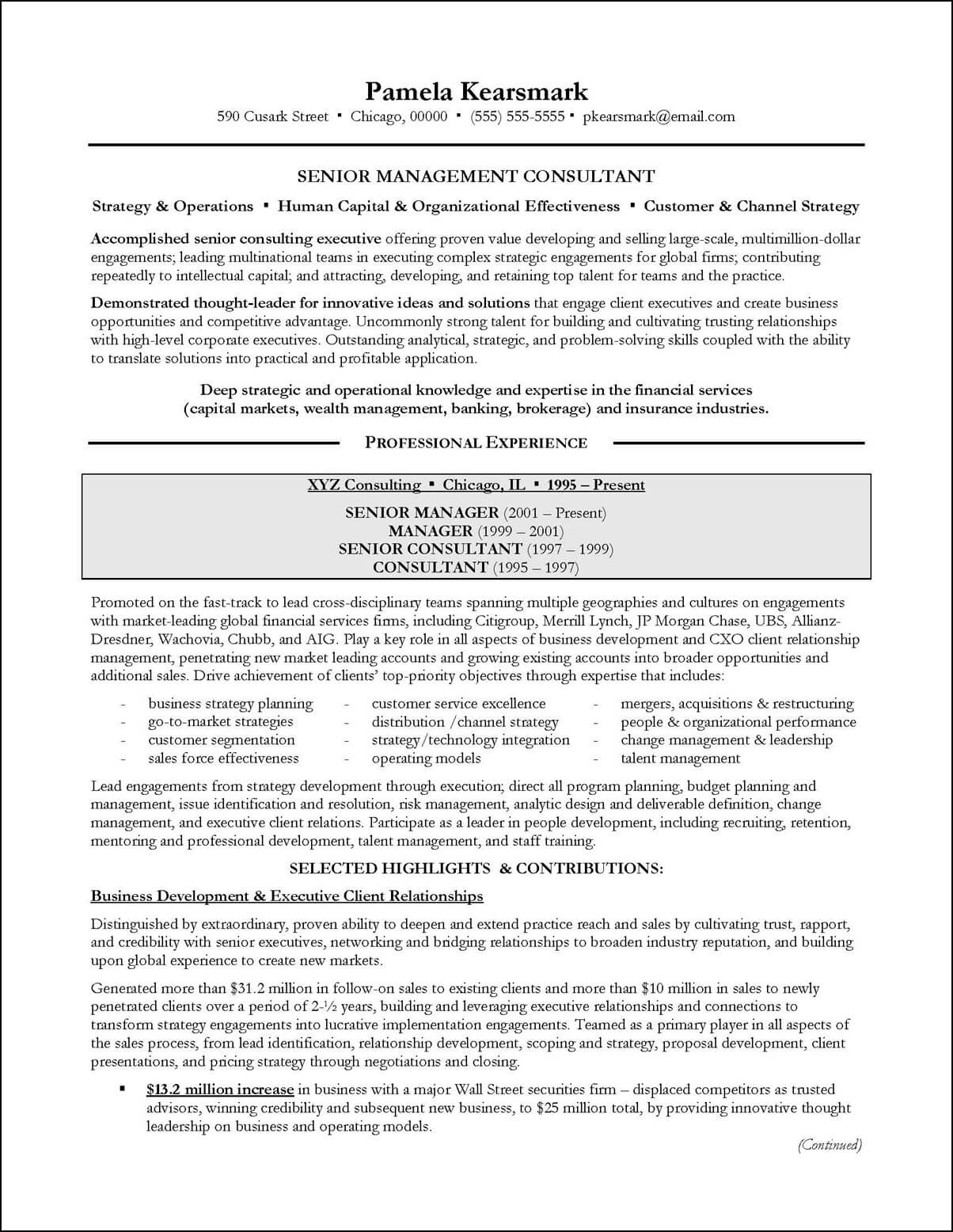 Business management consultant sample resume