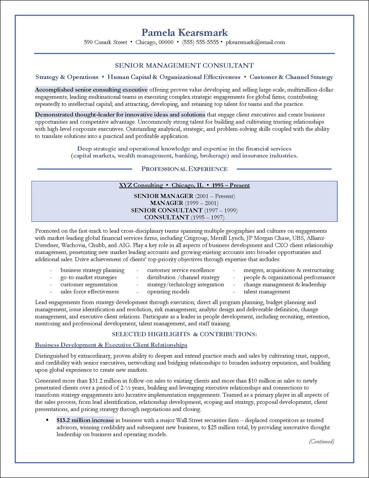 Management Consulting Resume Example Page 1