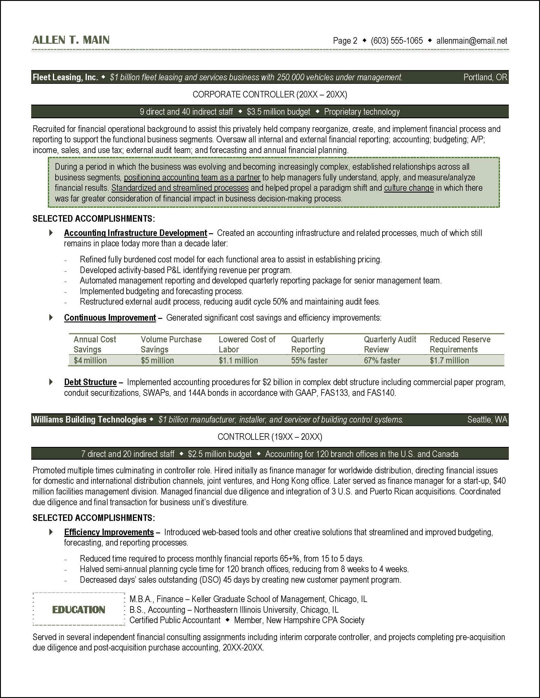 Accounting Resume Example Page 2  Sample Resume For Accounting