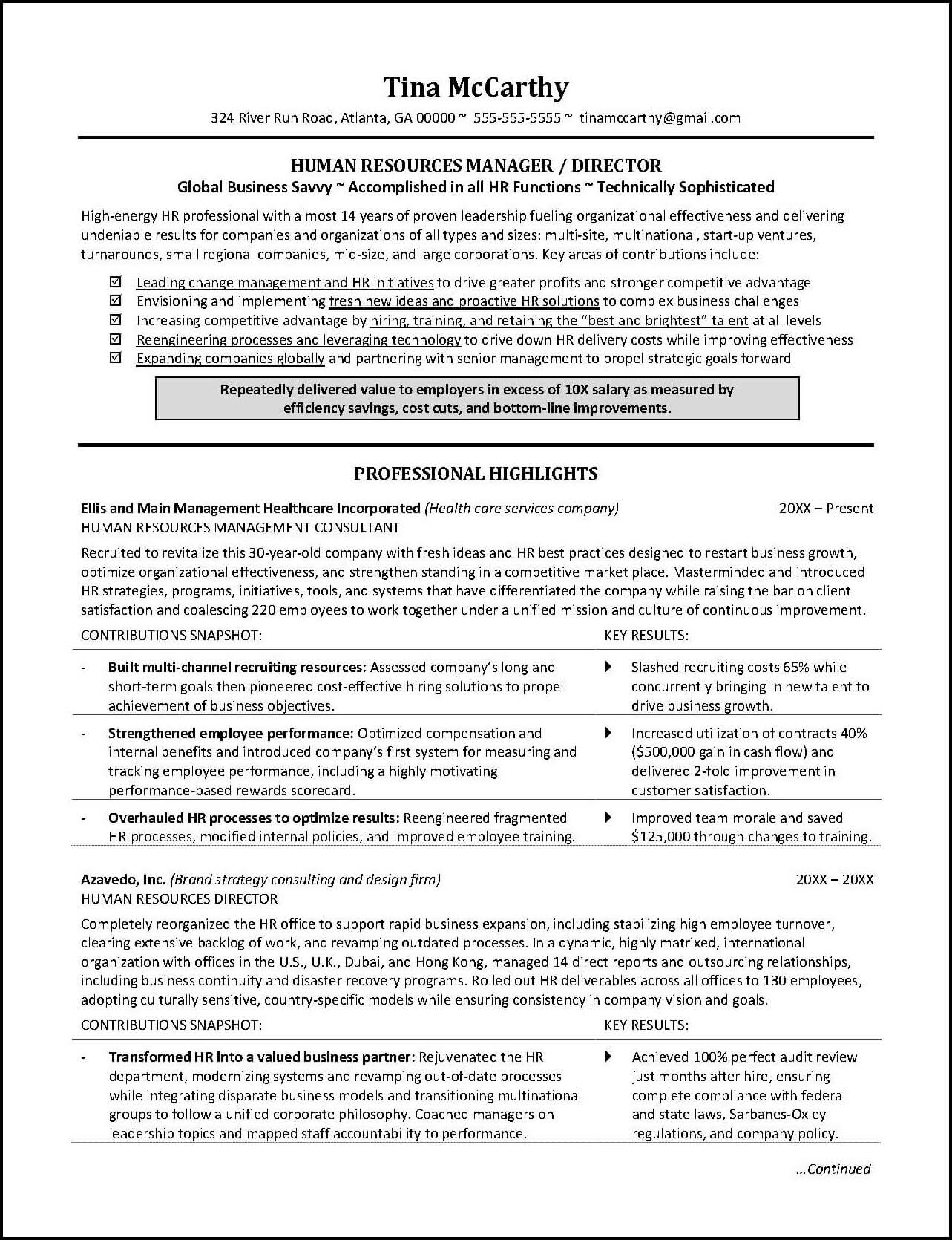 human resources resume page 1