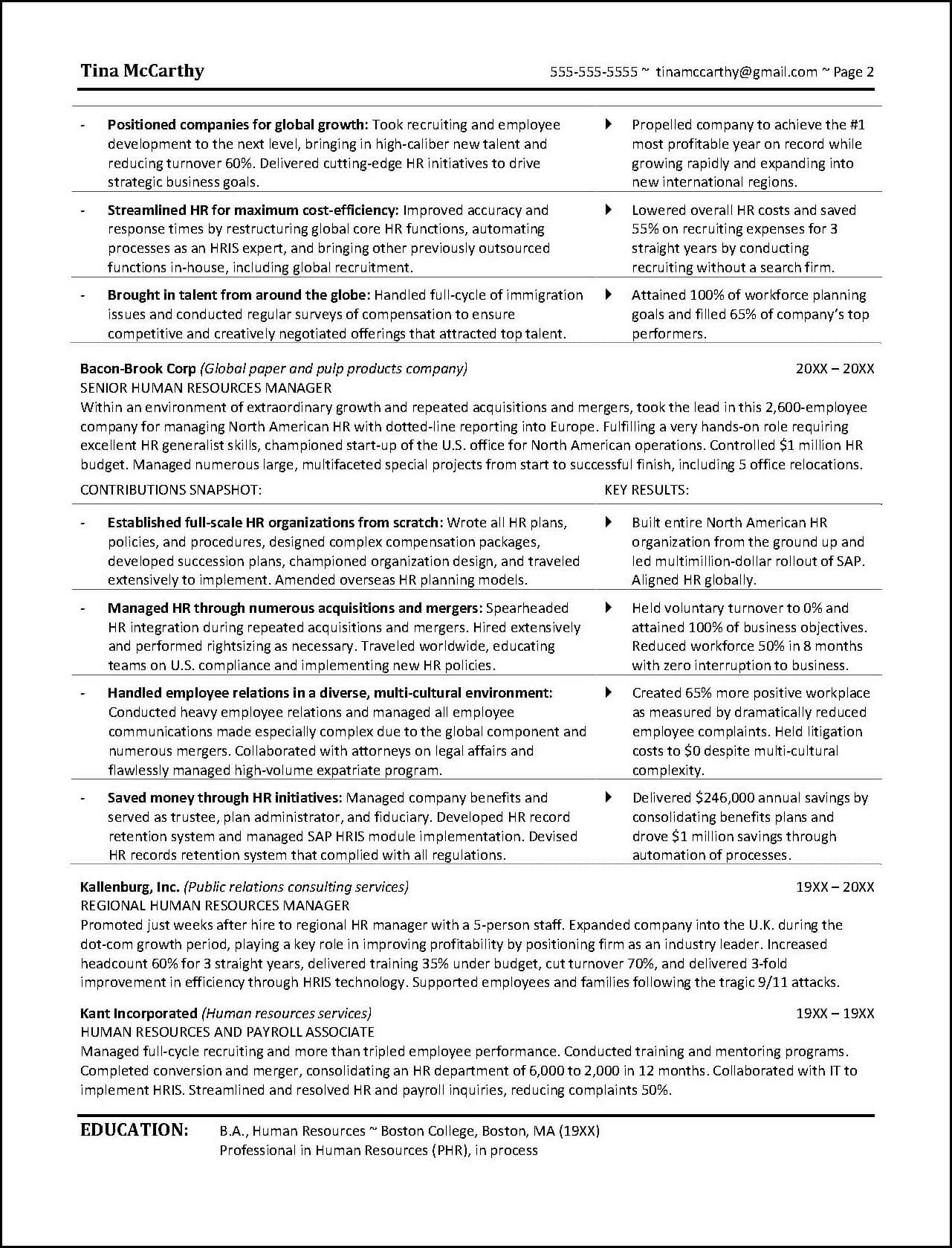 Human Resources Resume Page 2  Human Resource Resumes