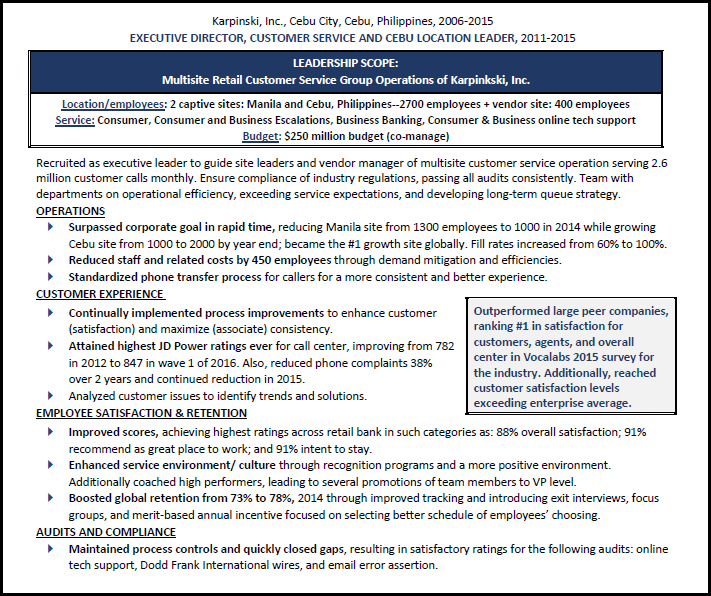 Example showing resume best practices
