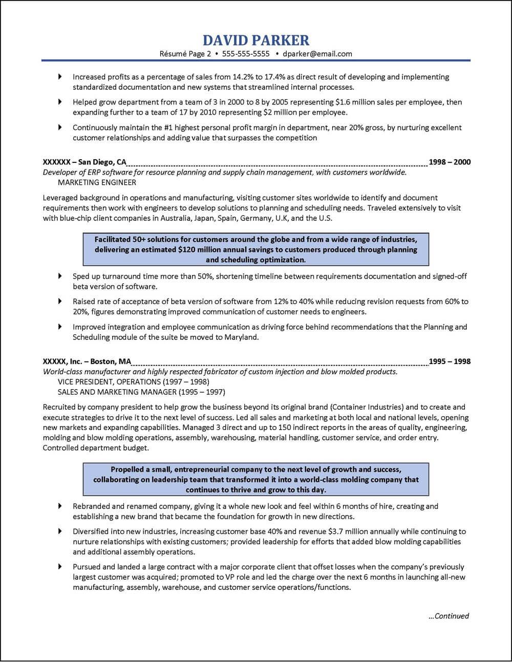 sales engineer resume page 2