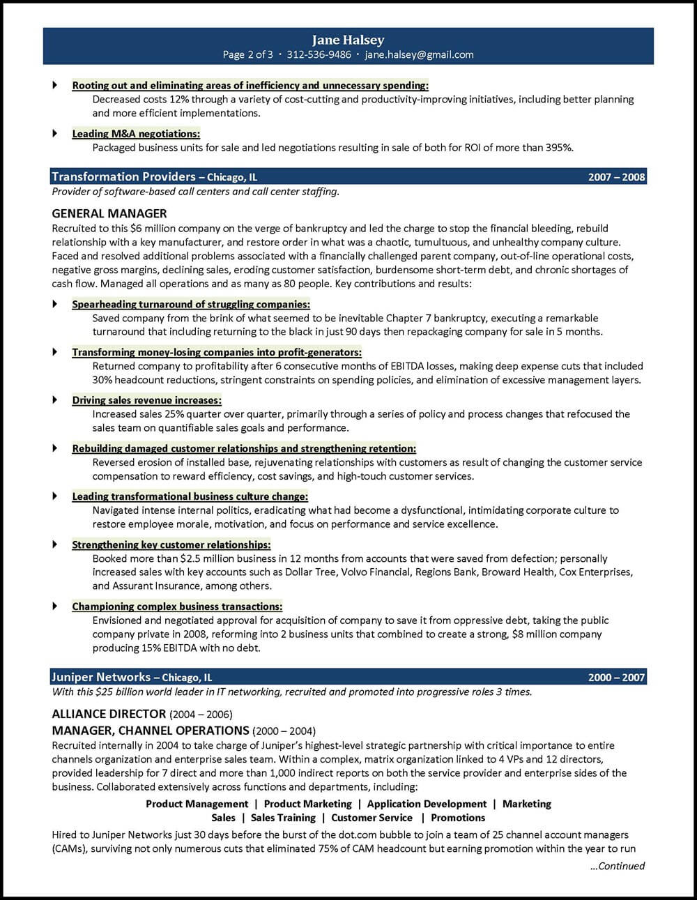 General Resume Templates General Manager Resume Example For A CEO GM Candidate