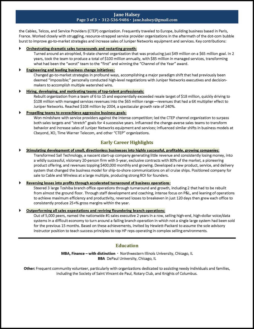 General Manager Resume Page 3
