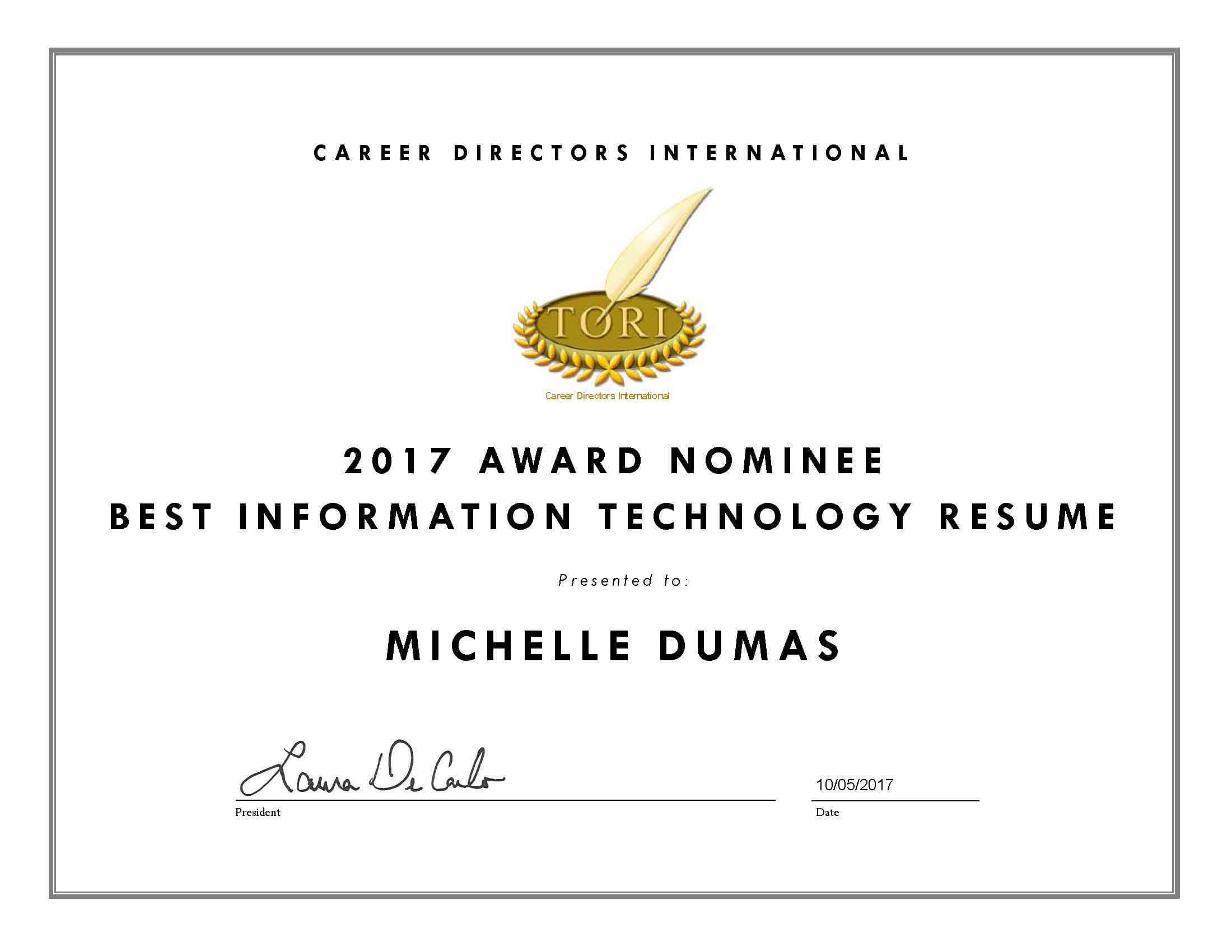Michelle Dumas TORI Awards Nominee, Best Information Technology Resume 2017
