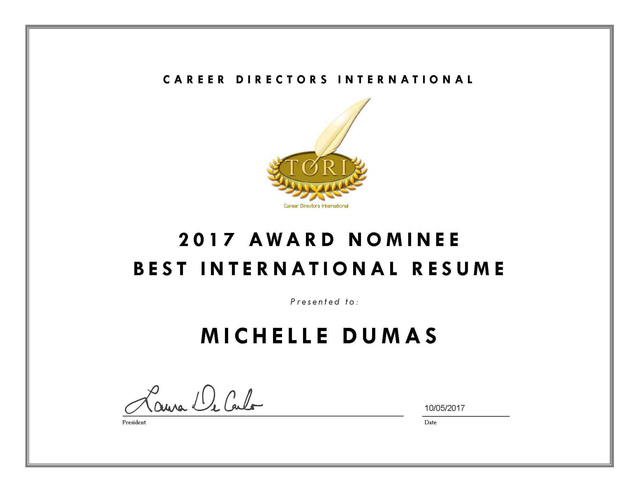 Michelle Dumas TORI Awards Nominee, Best International Resume 2017