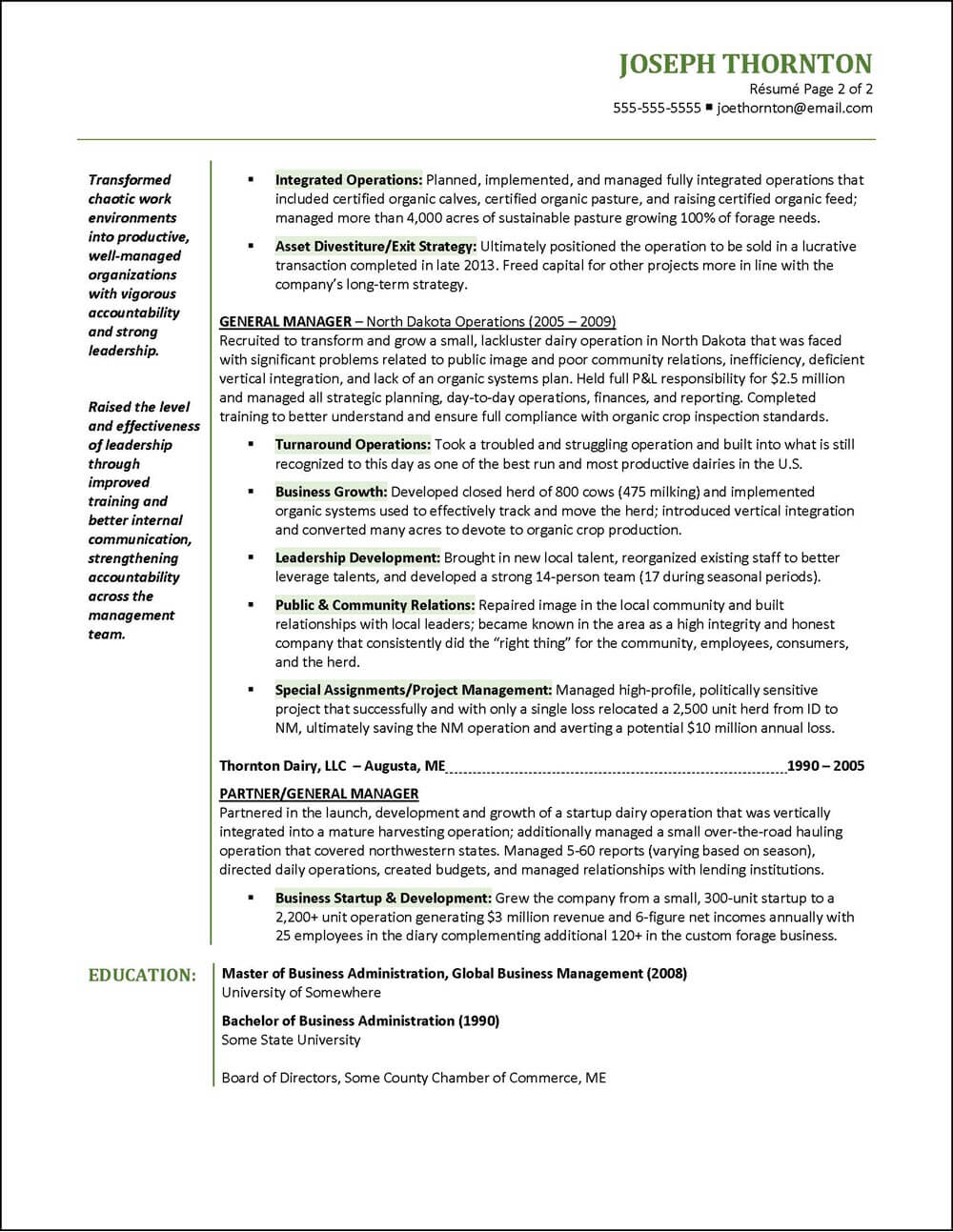 Example Senior Manager Resume page 2