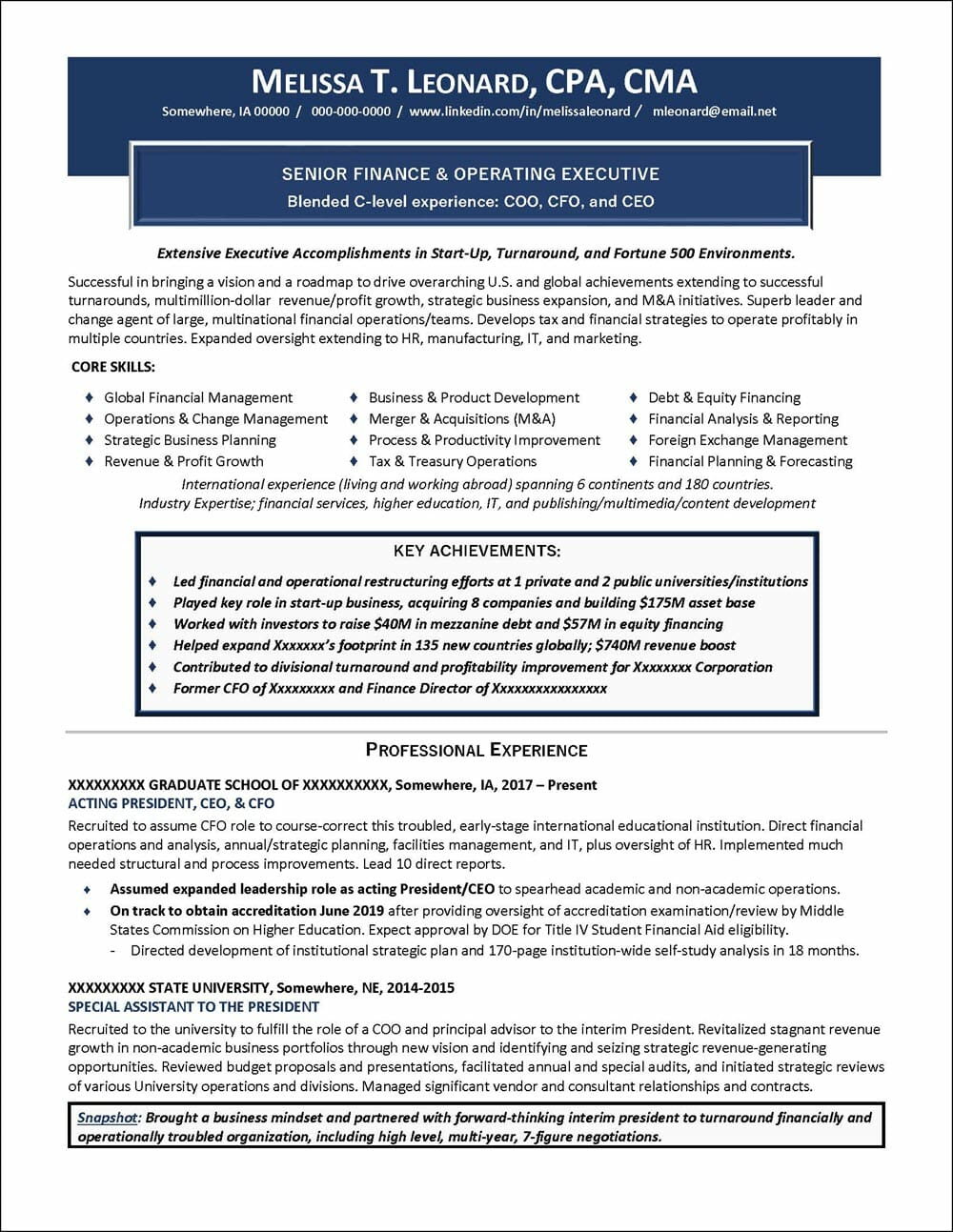 Senior Finance & Operating Executive Resume page 1