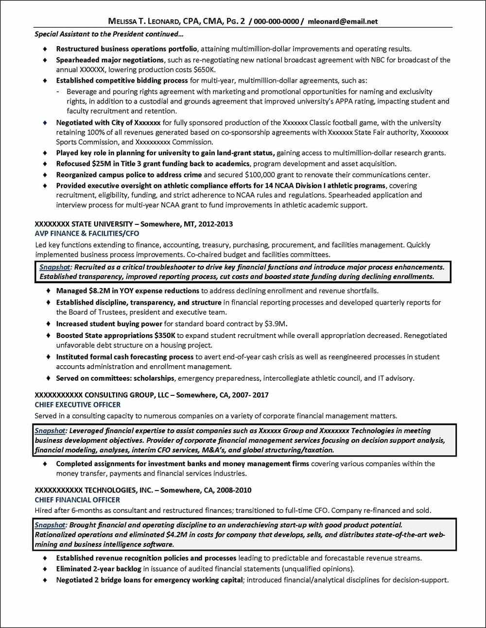 Senior Finance & Operating Executive Resume page 2