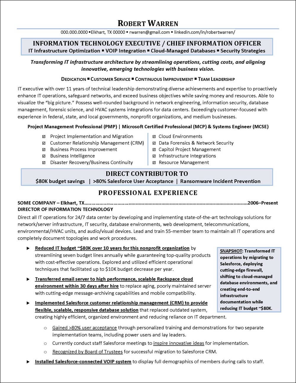 CIO Example Resume page 1