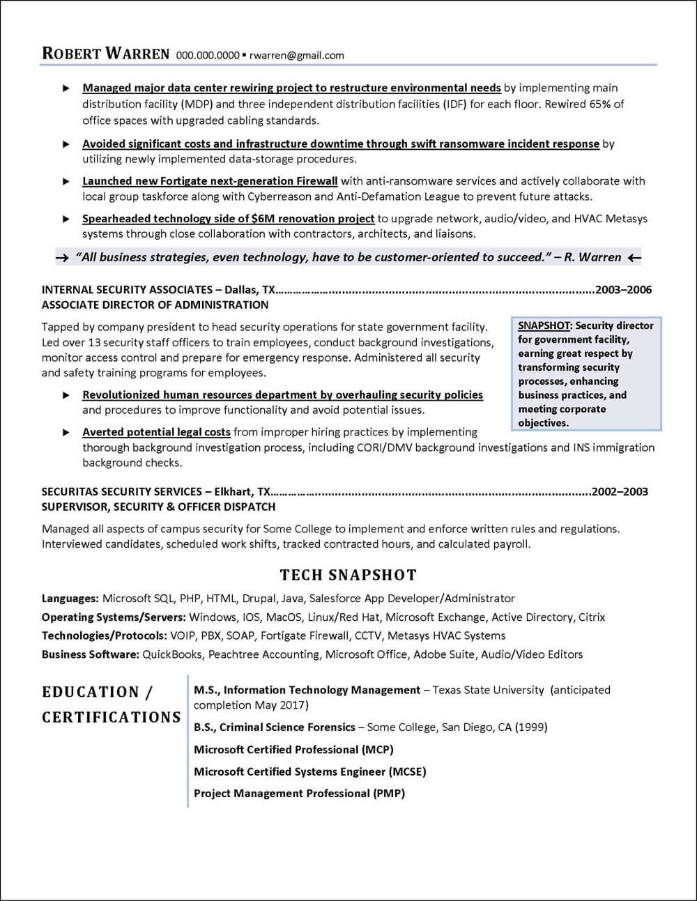 CIO Example Resume page 2
