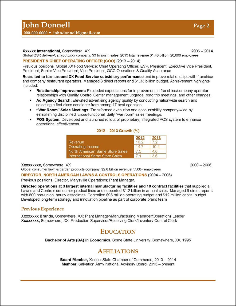 Executive Resume CPG Manufacturing page 2