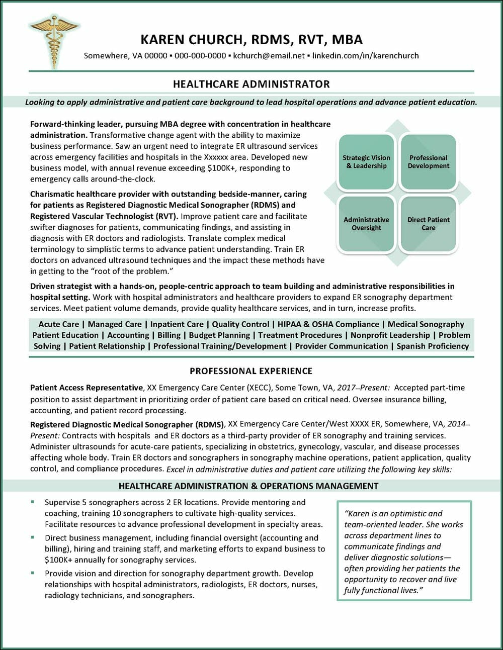 Healthcare Administrator Resume Page 1