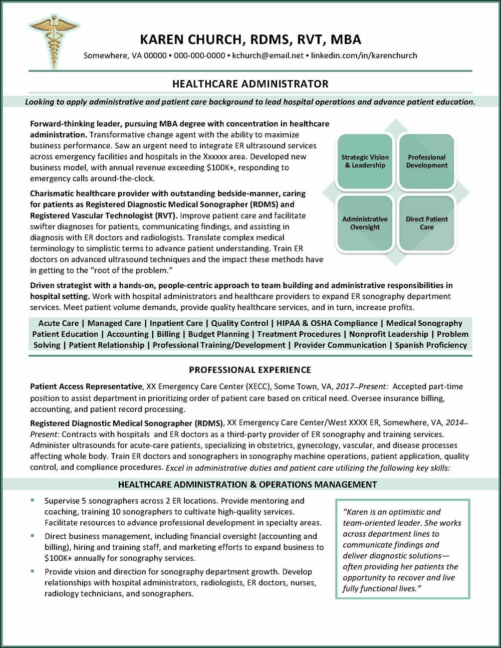 Healthcare Administrator Resume Example Distinctive