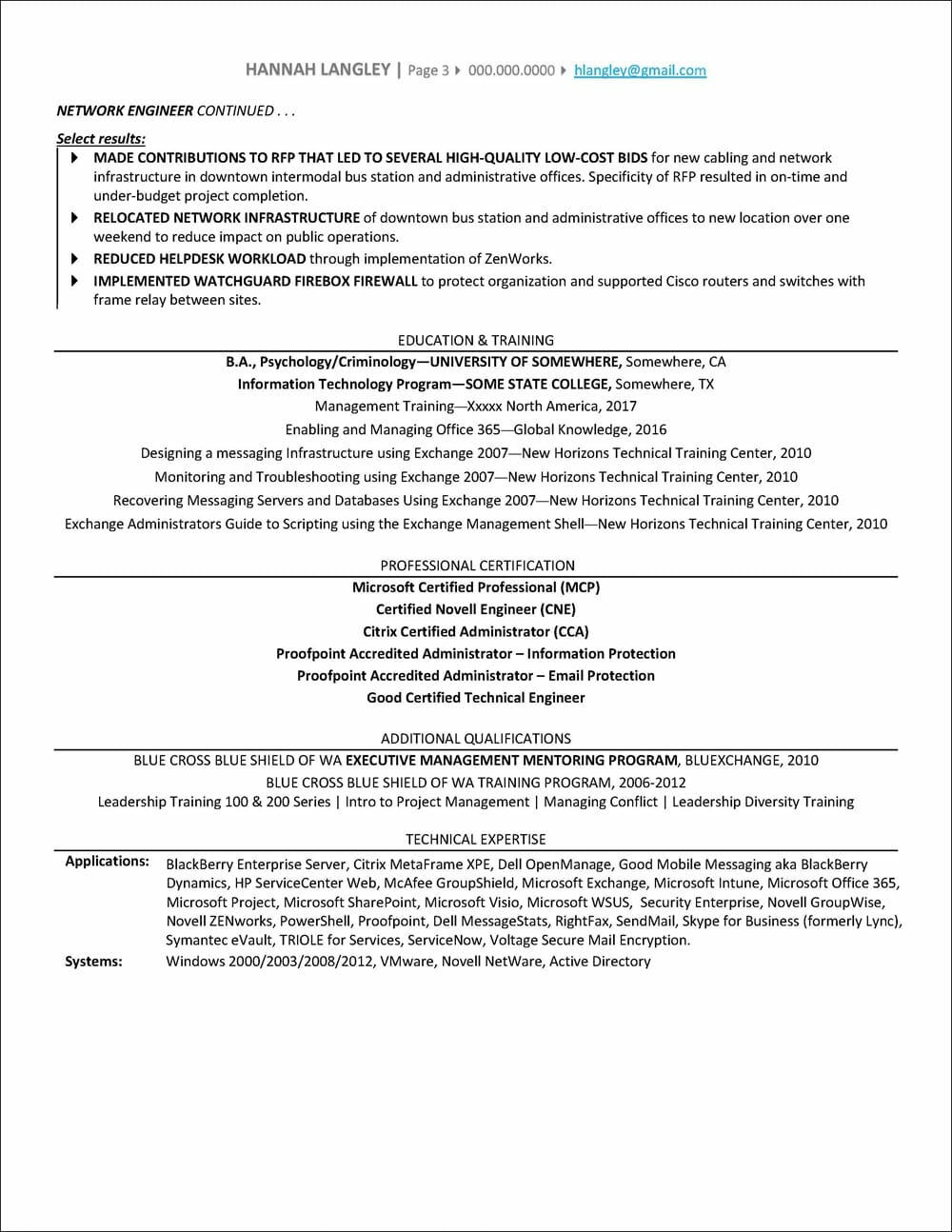 IT Manager Resume page 3