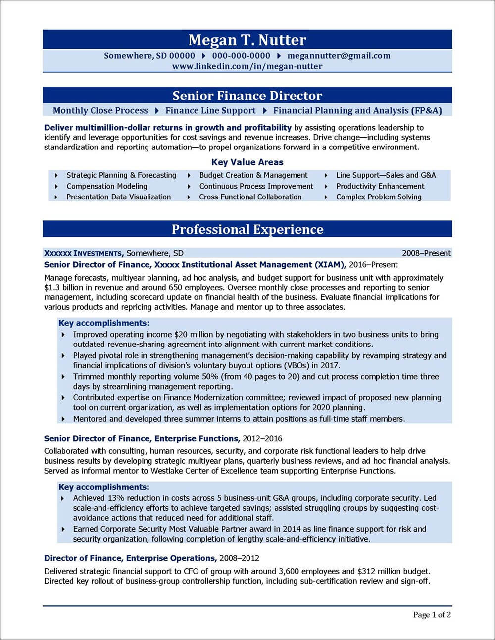 Senior Finance Director Resume page 1