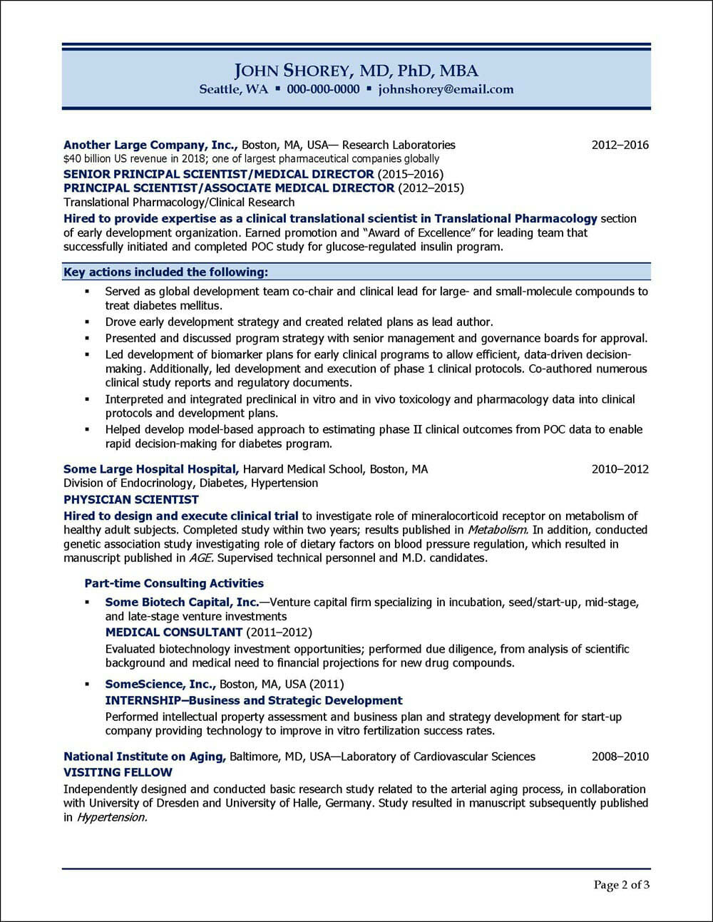 Biotech and Pharmaceutical Executive Resume Page 2