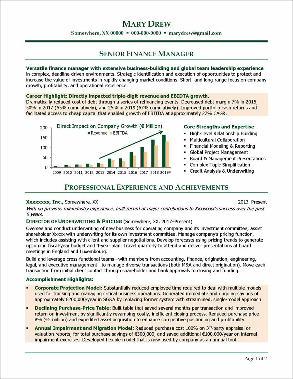 Senior Finance Manager Resume Page 1