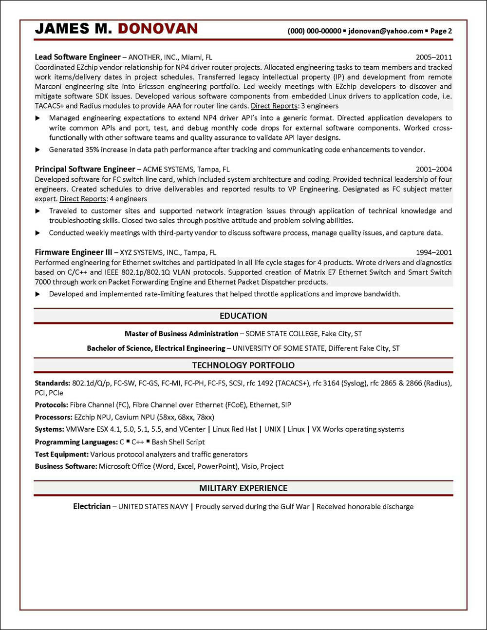 Software Engineering Resume Page 2