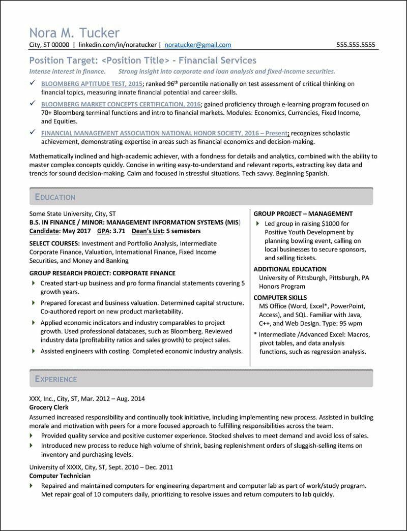 Student Resume Example 4