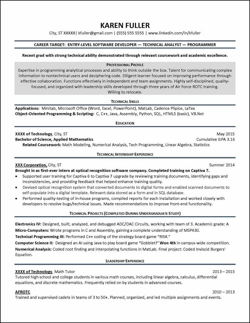 Student Resume Example 2
