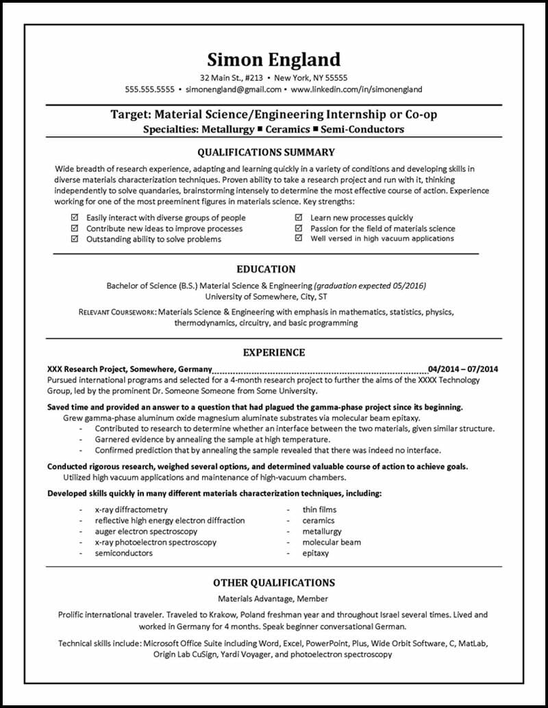 student resume examples