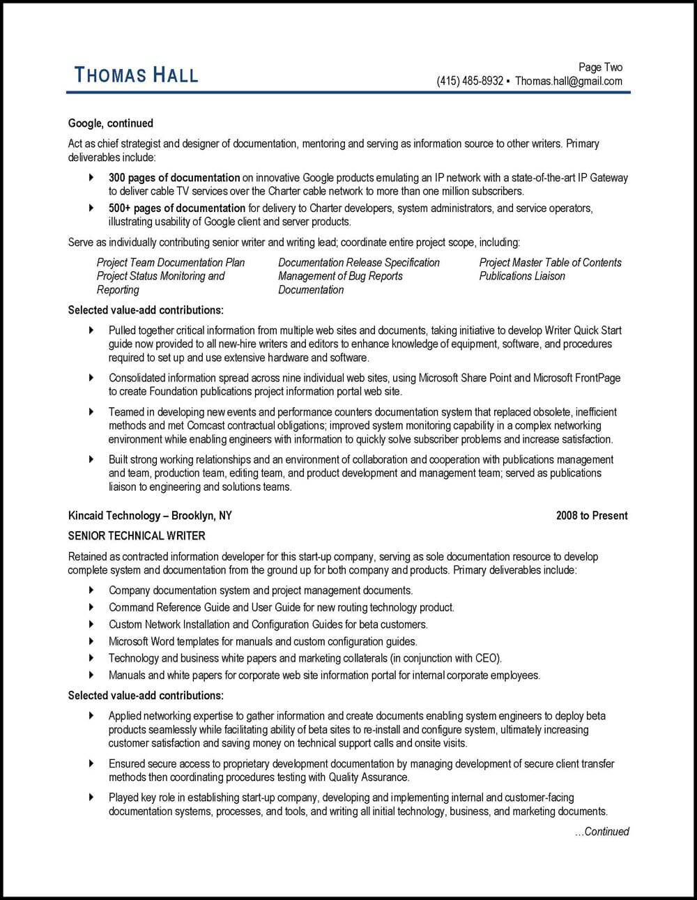 technical writer resume example
