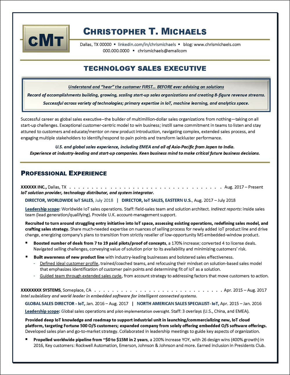 Technology Sales Executive Resume Page 1