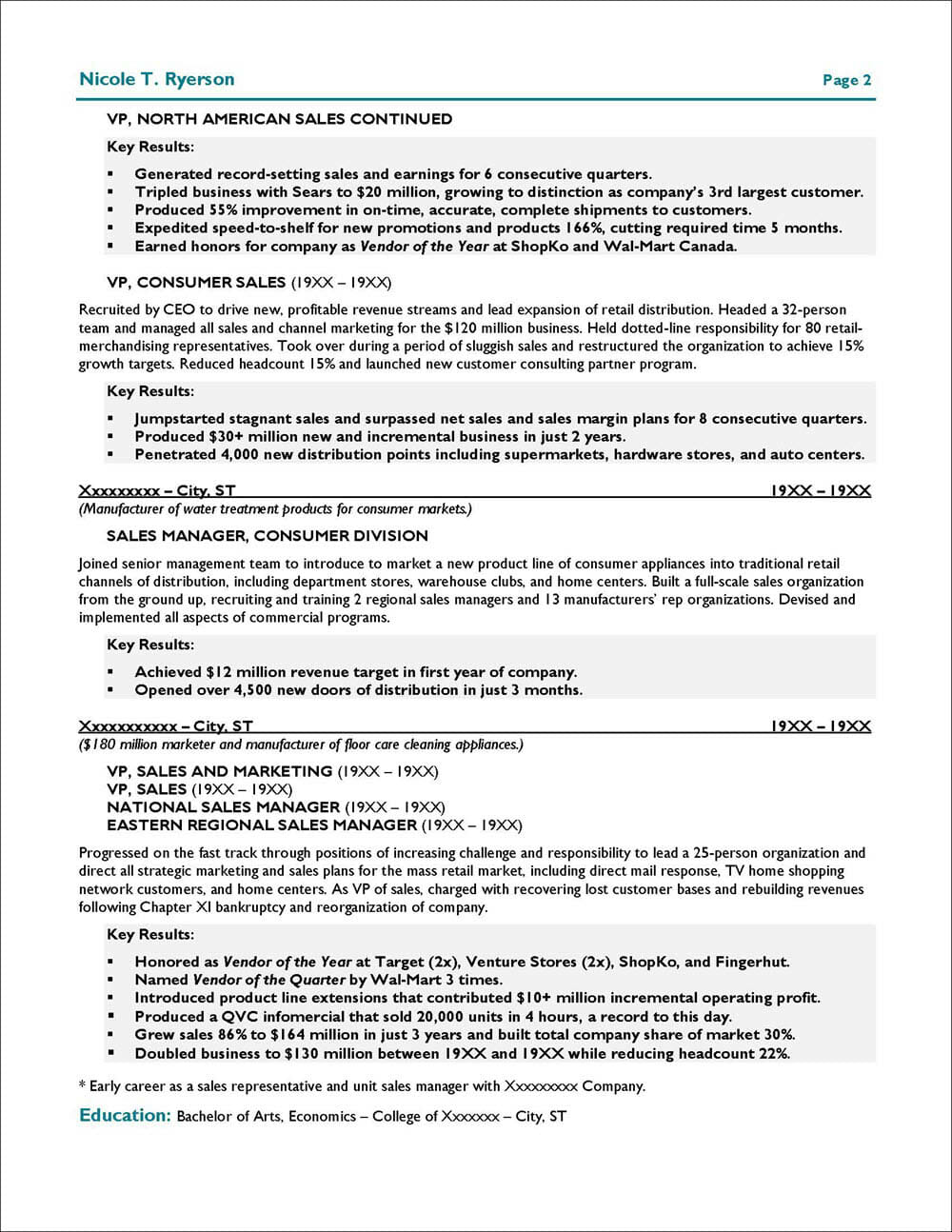 Sales and Marketing Executive Resume Page 2